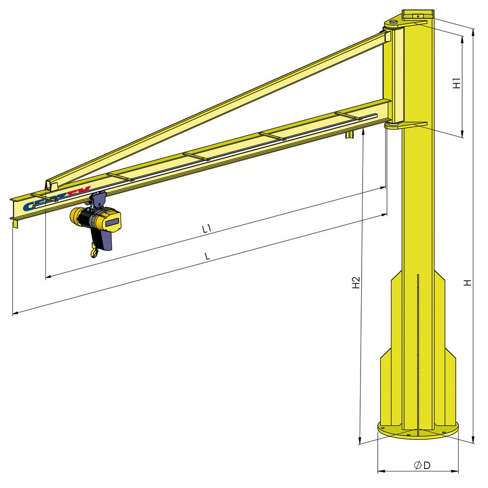 Pillar Jib Crane Type Sk I Certex Lithuania Electrical Diagram Of Swf Hoist When Using An Chain We Can Offer A Wide Selection Hoists As Well And Manual Trolleys