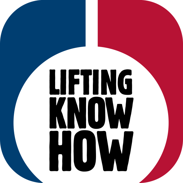The Logo for Certex and Blue and Red shape with Lifting Know How text in the middle